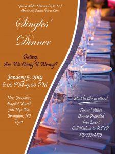 Singles' Dinner @ Eglise Baptiste de la Nouvelle Jérusalem (EBNJ) | Irvington | New Jersey | United States