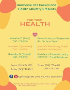Harmonie Health Ministry's Zoom Conference